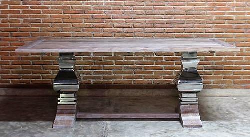 Chrome Base Pedestal Dining Table
