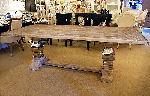 Chrome Base Double Pedestal Dining Table, Large