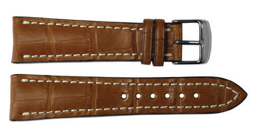 22x20 Cognac Genuine Matte Alligator Watch Band for Breitling | OEMwatchbands.com