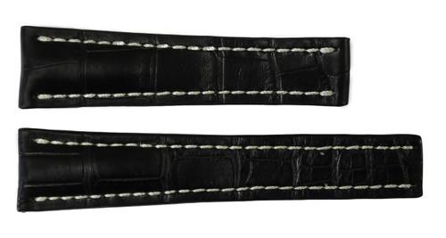 22x18 Black Genuine Matte Alligator Watch Band for Breitling | OEMwatchbands.com