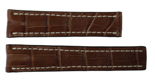22x18 Mahogany Genuine Matte Alligator Watch Band for Breitling | OEMwatchbands.com