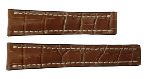 22x18 Cognac Genuine Matte Alligator Watch Band for Breitling | OEMwatchbands.com
