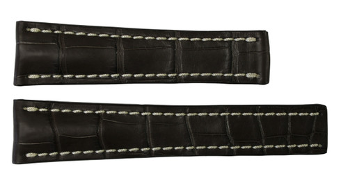 24x20 Mocha Genuine Matte Alligator Watch Band for Breitling | OEMwatchbands.com