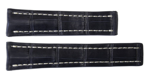 24x20 Navy Genuine Matte Alligator Watch Band for Breitling | OEMwatchbands.com