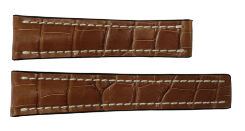 24x20 Cognac Genuine Matte Alligator Watch Band for Breitling | OEMwatchbands.com