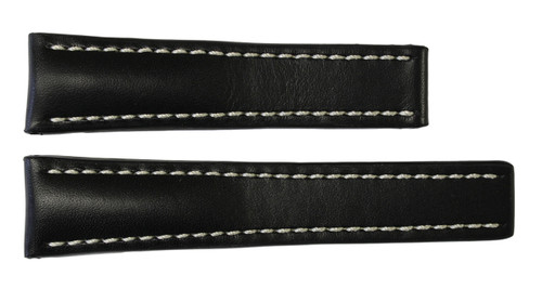 22x18 Black Genuine Soft Calf Leather Watch Band for Breitling | OEMwatchbands.com