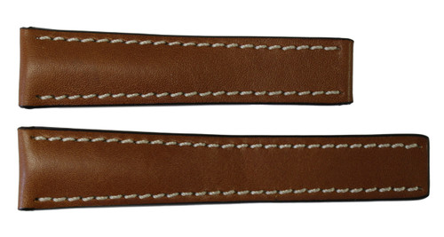 24x20 Cognac Genuine Soft Calf Leather Watch Band for Breitling | OEMwatchbands.com