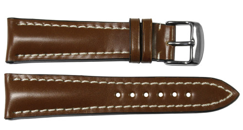 22x18 Cognac Genuine Shell Cordovan Leather Watch Band for Breitling | OEMwatchbands.com