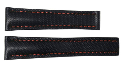 "22x18 Black ""KVLR"" Style Waterproof Watch Band / Red Stitching for Breitling 