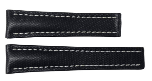 "24x20 Black ""KVLR"" Style Waterproof Watch Band / White Stitching for Breitling 