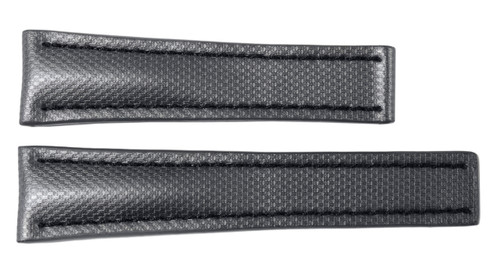 "24x20 Silver ""KVLR"" Style Waterproof Watch Band / Black Stitching for Breitling 