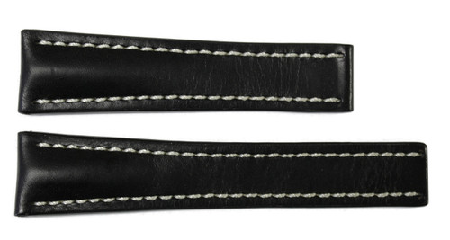 22x18 Black Genuine Shell Cordovan Leather Watch Band for Breitling | OEMwatchbands.com