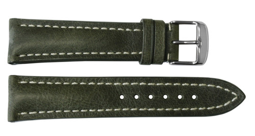 24x20 Olive Vintage Leather Watch Strap for Breitling (Tang Buckle) | OEMwatchbands.com