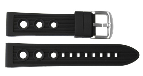 24x22 Black Rubber Rally Watch Strap for Breitling (Racing Style) | OEMwatchbands.com