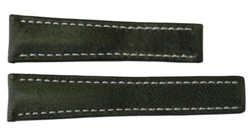 22x20 Olive Vintage Leather Watch Strap for Breitling (For Deploy Buckle) | OEMwatchbands.com