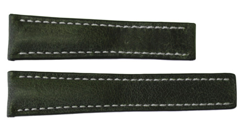 22x18 Olive Vintage Leather Watch Strap for Breitling (For Deploy Buckle) | OEMwatchbands.com