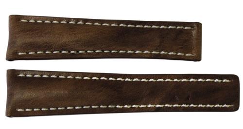 24x20 Burnt Chestnut Vintage Leather Watch Strap for Breitling (For Deploy Buckle) | OEMwatchbands.com