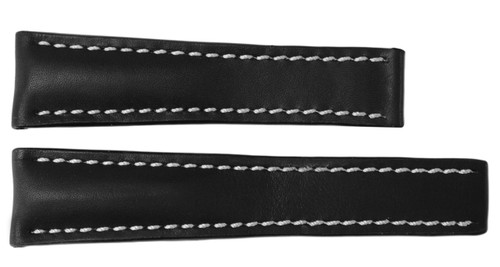 24x20 Black Vintage Leather Watch Strap for Breitling (For Deploy Buckle) | OEMwatchbands.com