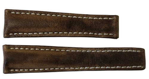22x18 Brown Aged Vintage Leather Watch Strap for Breitling (For Deploy Buckle)   OEMwatchbands.com