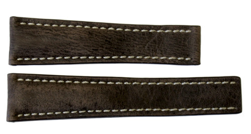 22x18 Dark Brown Distressed Vintage Leather Watch Strap for Breitling (For Deploy Buckle) | OEMwatchbands.com