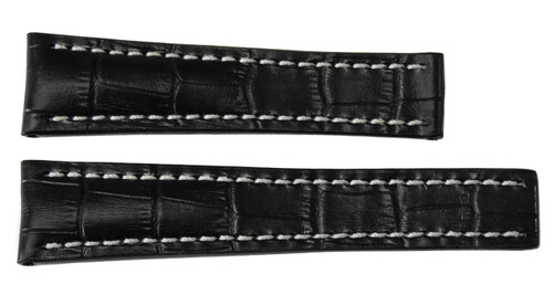 24x20 Black Embossed Leather Gator Watch Strap for Breitling (For Deploy Buckle) | OEMwatchbands.com
