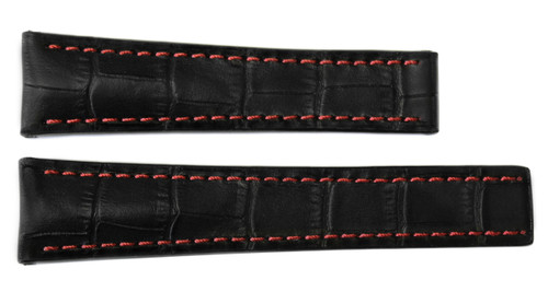 20x18 Black Embossed Leather Gator Watch Strap /Red Stitch for Breitling (For Deploy Buckle) | OEMwatchbands.com