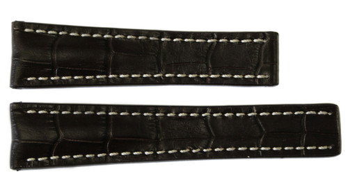 24x20 Mocha Embossed Leather Gator Watch Strap for Breitling (For Deploy Buckle) | OEMwatchbands.com