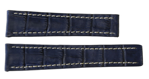 24x20 Navy Embossed Leather Gator Watch Strap for Breitling (For Deploy Buckle) | OEMwatchbands.com