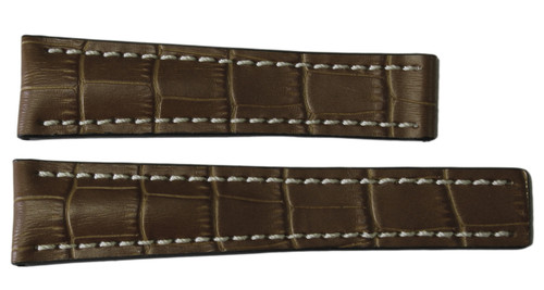 24x20 Cognac Embossed Leather Gator Watch Strap for Breitling (For Deploy Buckle) | OEMwatchbands.com