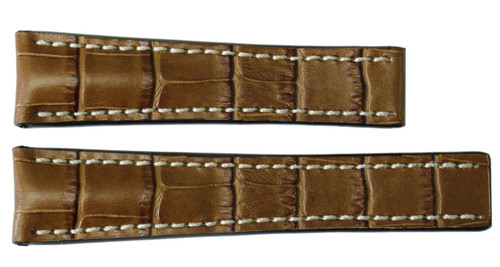 22x18 Honey Embossed Leather Gator Watch Strap for Breitling (For Deploy Buckle) | OEMwatchbands.com