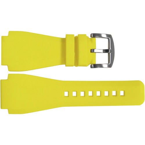 24mm Yellow Waterproof Rubber Watch Strap - Exact Replacement For Bell & Ross | OEMwatchbands.com