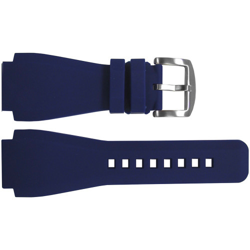 24mm Dark Blue Waterproof Rubber Watch Strap - Exact Replacement For Bell & Ross | OEMwatchbands.com