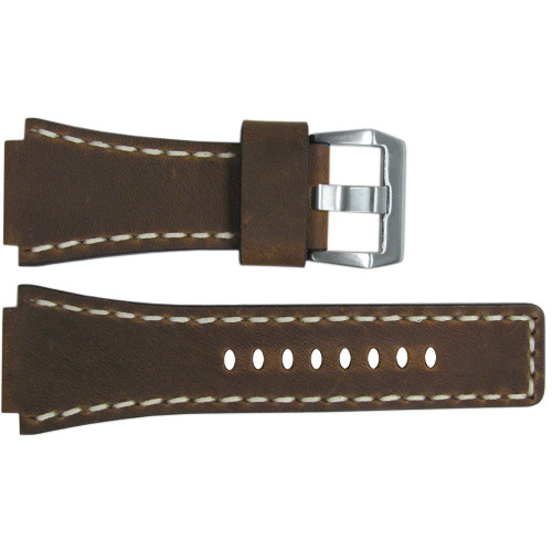 24mm Vintage Tobacco Leather Watch Strap with White Stitching For Bell & Ross | OEMwatchbands.com