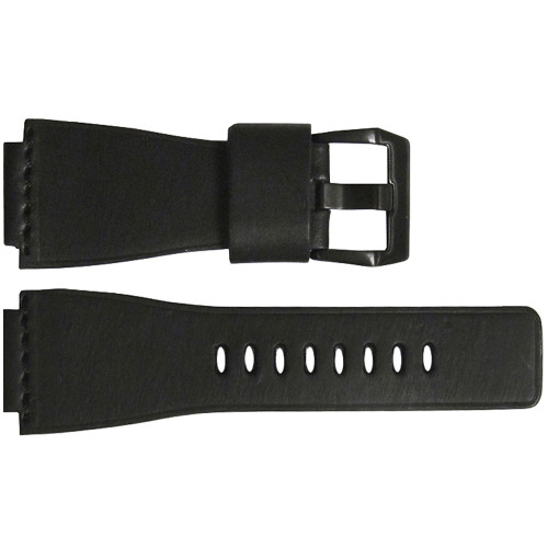 24mm Black Smooth Vintage Leather Watch Strap with Single Black Stitch For Bell & Ross   OEMwatchbands.com