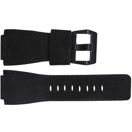 "24mm ""Black Out"" Soft Suede Vintage Leather Watch Strap For Bell & Ross 
