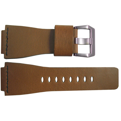24mm Light Brown Smooth Vintage Leather Watch Strap with Single Black Stitch For Bell & Ross | OEMwatchbands.com