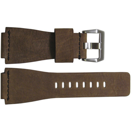 24mm Olive Wood Vintage Leather Watch Strap with Single Black Stitch For Bell & Ross | OEMwatchbands.com