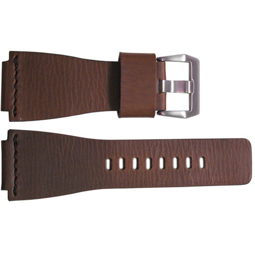 24mm Smooth Brown HZ Vintage Leather Watch Strap with Single Black Stitch For Bell & Ross | OEMwatchbands.com