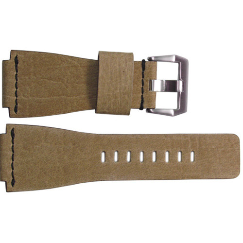 24mm Light Maple Vintage Leather Watch Strap with Single Black Stitch For Bell & Ross | OEMwatchbands.com