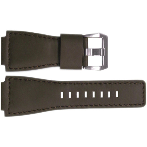 24mm Smooth Brown Leather Watch Strap with Match Stitching For Bell & Ross | OEMwatchbands.com