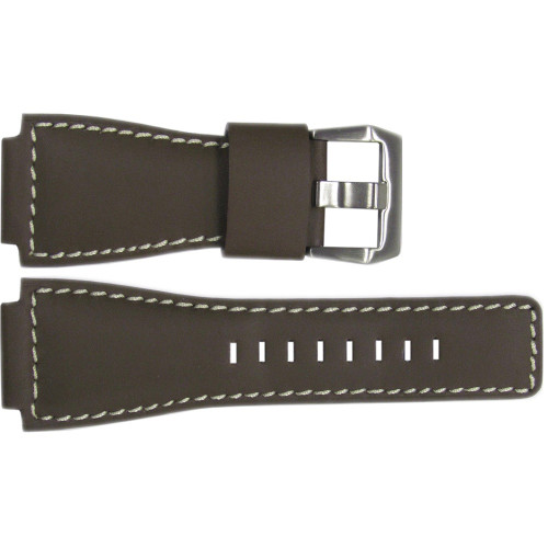 24mm Smooth Brown Leather Watch Strap with White Stitching For Bell & Ross | OEMwatchbands.com