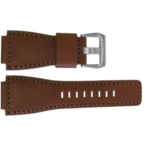 24mm Medium Brown Vintage Leather Watch Strap with Match Stitching For Bell & Ross | OEMwatchbands.com