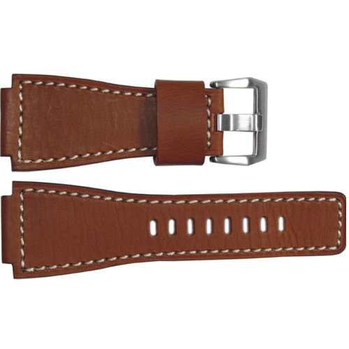 24mm Rou HZ Vintage Leather Watch Strap with White Stitching For Bell & Ross | OEMwatchbands.com
