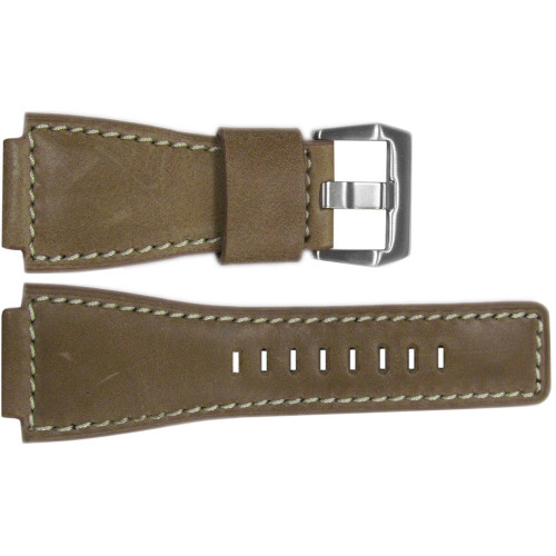 24mm Natural Vintage Leather Watch Strap with White Stitching For Bell & Ross | OEMwatchbands.com
