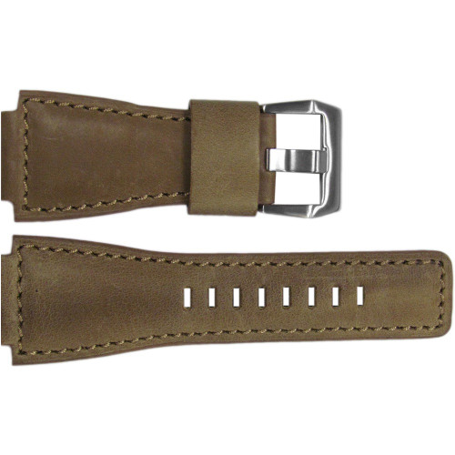 24mm Natural Vintage Leather Watch Strap with Match Stitching For Bell & Ross | OEMwatchbands.com