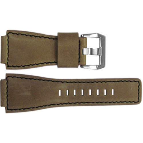 24mm Natural Vintage Leather Watch Strap with Black Stitching For Bell & Ross | OEMwatchbands.com