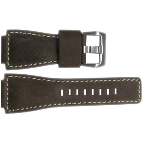 24mm Dark Oak Distressed Vintage Leather Watch Strap with White Stitching For Bell & Ross | OEMwatchbands.com