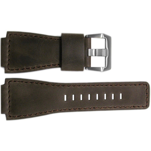 24mm Dark Oak Distressed Vintage Leather Watch Strap with Match Stitching For Bell & Ross | OEMwatchbands.com