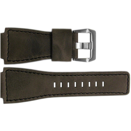 24mm Dark Oak Distressed Vintage Leather Watch Strap with Black Stitching For Bell & Ross | OEMwatchbands.com