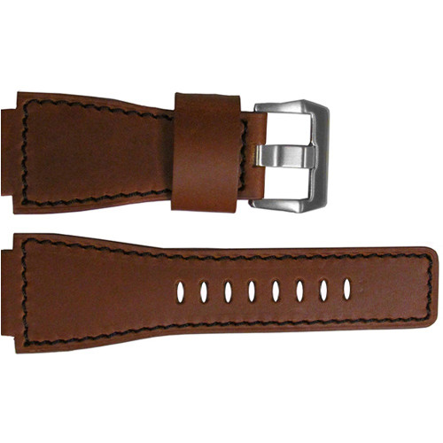 24mm Brown Vintage Leather Watch Strap with Black Stitching For Bell & Ross | OEMwatchbands.com